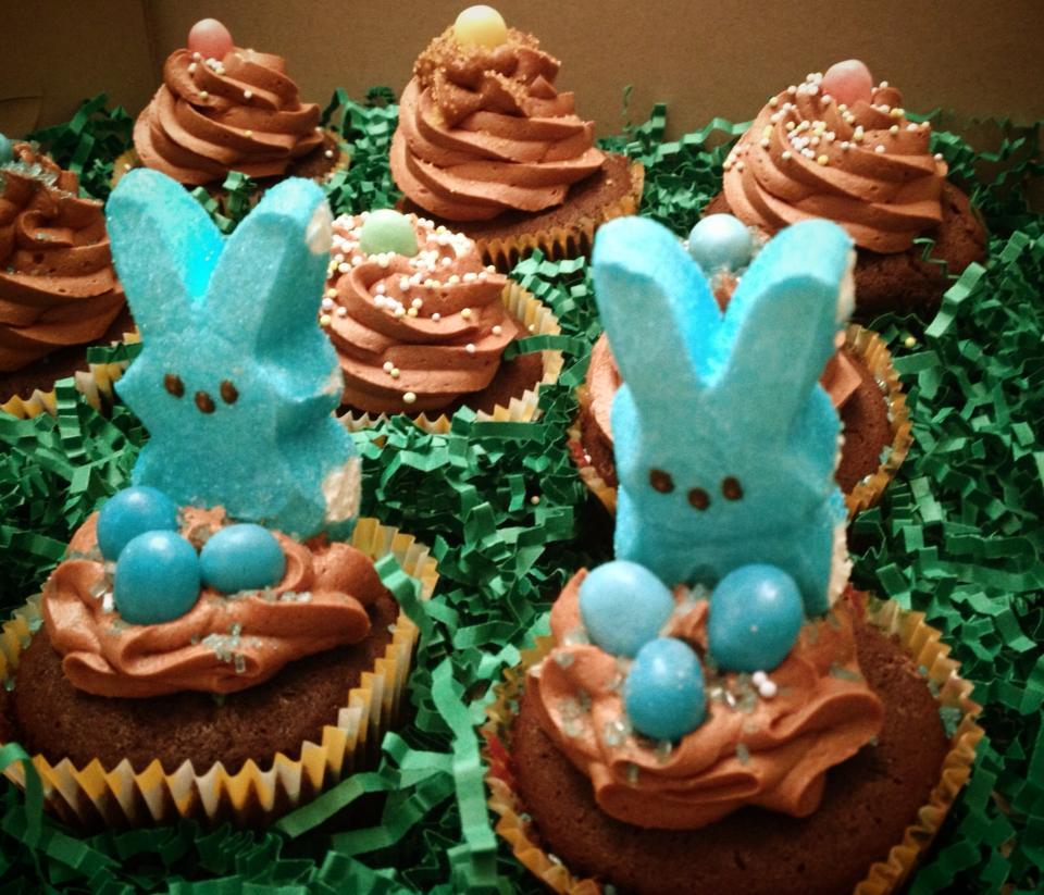 Easter Cupcakes featuring Peeps Bunnies